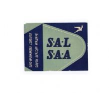 Vintage Airline luggage label South Africa Airways RARE #120